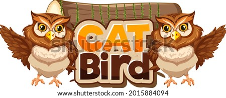 cat bird font banner with two