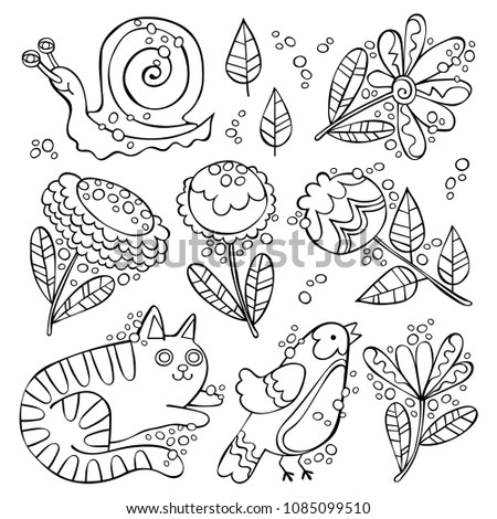 Cat, bird, snail. Flowers and leaves. Set. Isolated vector objects on white background.
