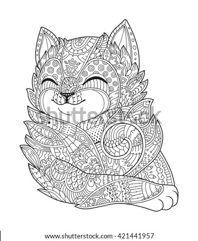 cat black white vector zen art