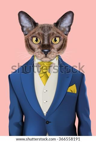 cat boy dressed up in retro