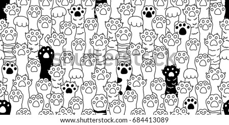 Cat breed kitten doodle Dog paw hand vector seamless pattern wallpaper background