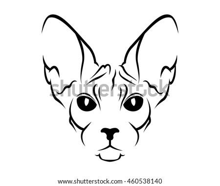 cat breed line art logo   sphynx