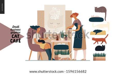 Cat cafe -small business graphics -visitor and waitress. Modern flat vector concept illustrations - young woman petting a cat at the table inside the cafe and a waitress bringing a cake. Various cats