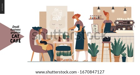Cat cafe -small business graphics -visitor and waitress. Modern flat vector concept illustrations - young woman petting a cat at the table inside the cafe and waitress bringing cake. Barista, counter