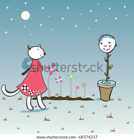 stock vector : cat cartoon move and flower face to falling in love