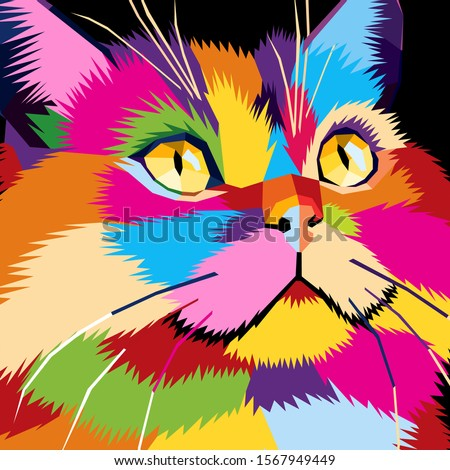 cat close up face pop art  wpap