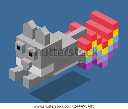 cat 3d pixelate isometric