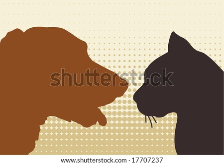 cat & dog - stock vector