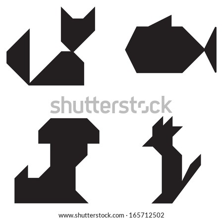 Cat Dog Fish Parrot symbols black and white simple shape - stock vector