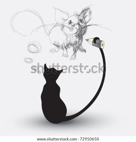 Cat drawing a mouse - stock vector