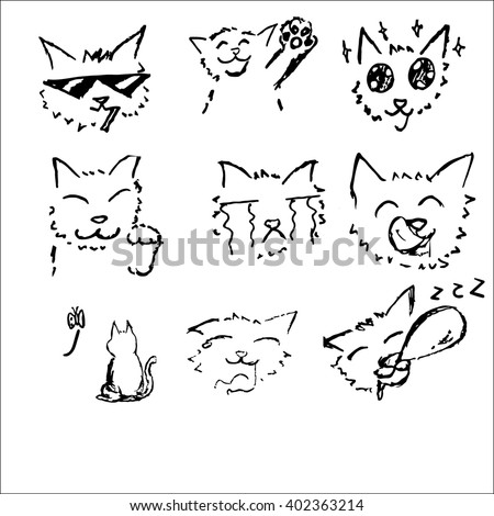 cat drawing sketch black and