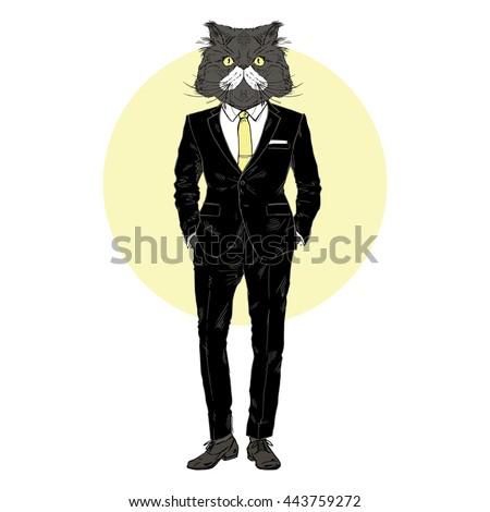 cat dressed up in suit  furry