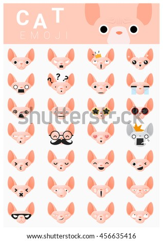 cat emoji icons   vector