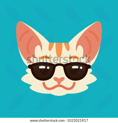 cat emotional head vector