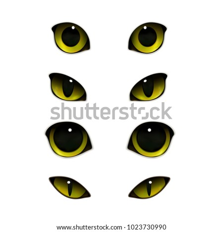 Cat emotions eyes realistic set of isolated images with open and half-closed feline eyes vector illustration