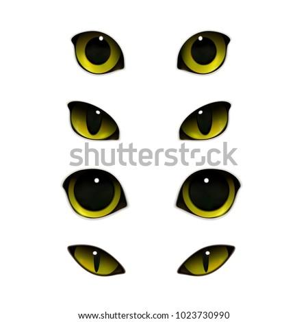 cat emotions eyes realistic set