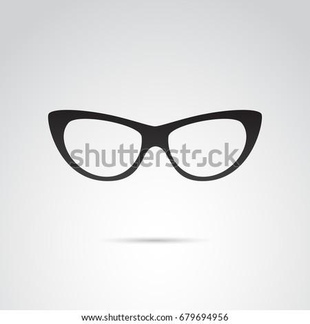 cat eye glasses icon isolated...