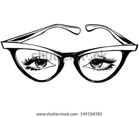 Cat Eye Glasses - Retro Clip Art Illustration - stock vector