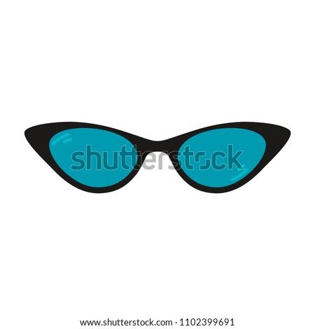Cat eye glasses. Vector eyeglasses. Fashionable accessory.