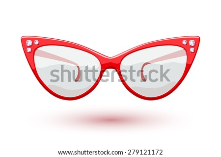 cat eye red retro glasses with
