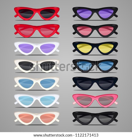 Cat Eyes Fashion Fancy GiGi Hadid Summer Sunglasses Vector set