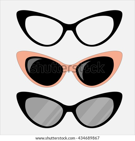 cat eyes glasses set  flat