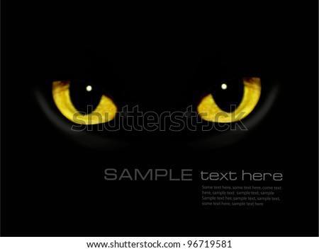 Stock Photo Cat eyes in dark night. Vector background.