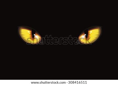 Stock Photo Cat eyes on black background   Art vector illustration   Halloween character
