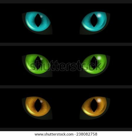 cat eyes on black background