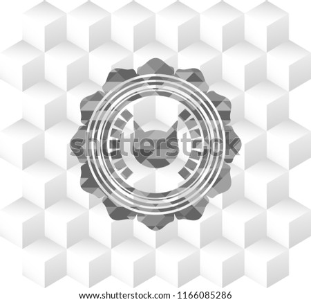 Stock Photo cat face icon inside grey badge with geometric cube white background