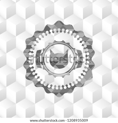 Stock Photo cat face icon inside grey emblem. Vintage with geometric cube white background