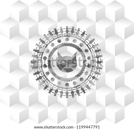 Stock Photo cat face icon inside grey emblem with cube white background
