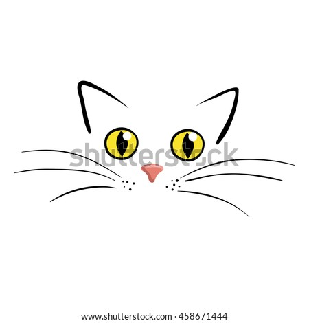 cat face on white background
