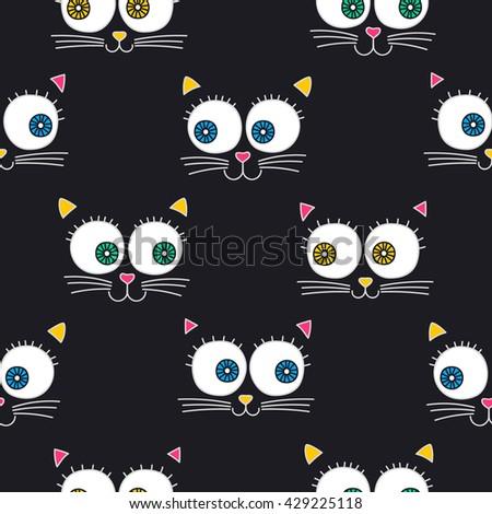 cat face vector seamless