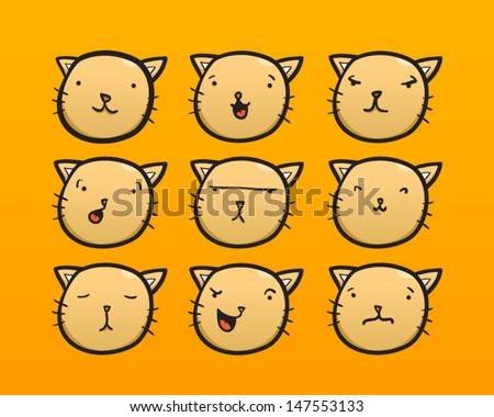 Cat face with different expressions