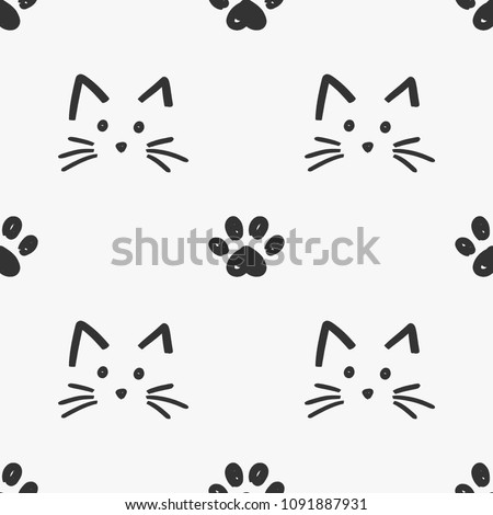 Cat faces and paws seamless pattern vector Stock photo ©