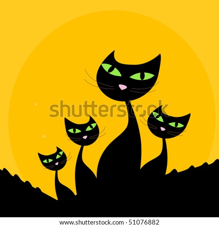 Cat family - black silhouette on orange background. Four stylized cute cats isolated on orange background. Vector cartoon illustration.