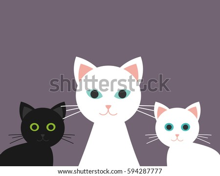 cat family  two kittens and