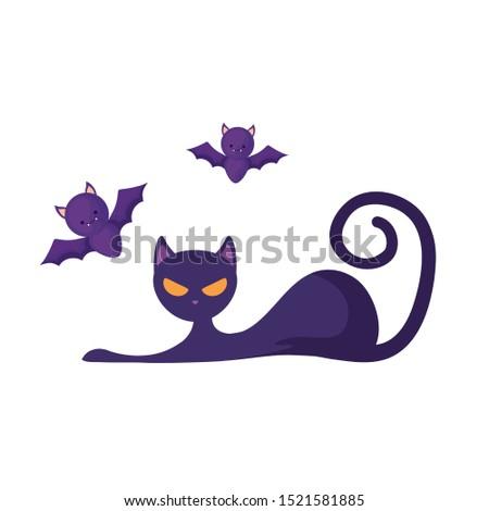 cat feline animal of halloween with bats flying vector illustration design