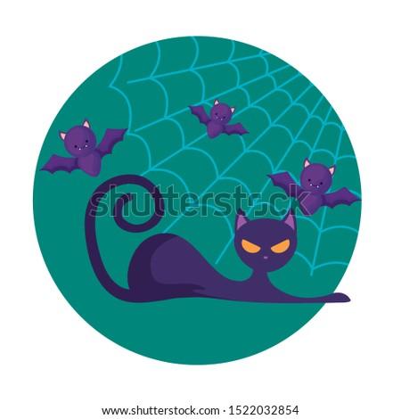 cat feline animal of halloween with bats, vector illustration