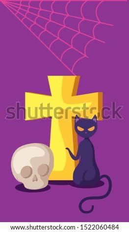 cat feline halloween with cross and skull vector illustration