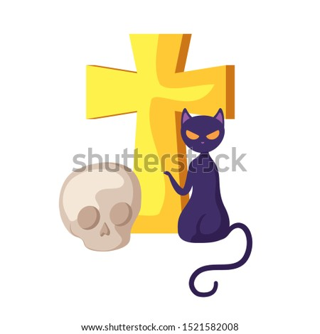 cat feline halloween with cross and skull vector illustration design