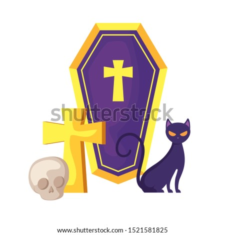 cat feline with icons of halloween vector illustration design