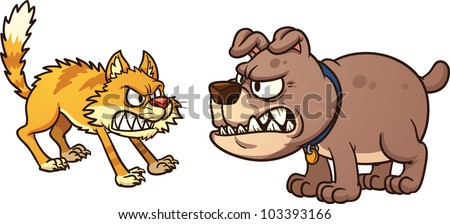 Cat fighting dog. Vector illustration with simple gradients. Cat and dog on separate layer for easy editing.