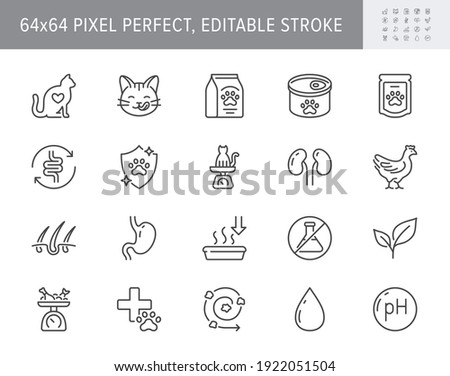 Cat food line icons. Vector illustration include icon outline bag, can, weight scales, stomach, sand box, pouch, balanced diet, kitty paw pictogram for pet meal. 64x64 Pixel Perfect Editable Stroke.