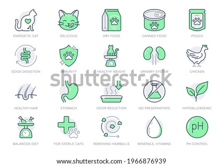 Cat food line icons. Vector illustration include icon outline bag, can, weight scales, stomach, sand box, pouch, balanced diet, kitty paw pictogram for pet meal. Green Color, Editable Stroke.