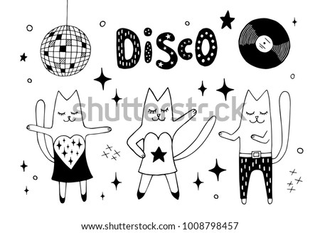 Cat friends dancing disco in the club under disco ball and having fun. Night out seamless pattern. Hand drawn vector black and white retro illustration. Cartoon doodle. Background, wallpaper.