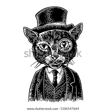 Cat gentleman holding a watch and dressed in a hat, suit, waistcoat. Vintage black engraving illustration for poster. Isolated on white background. Hand drawn design element for label and poster