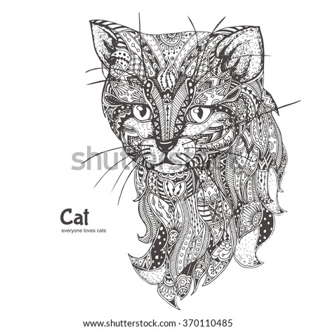 cat hand drawn cat with ethnic
