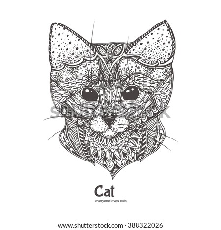 cat hand drawn sandcat cat